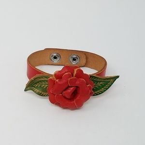 Jewelry - Artisan leather rose adjustable cuff bracelet